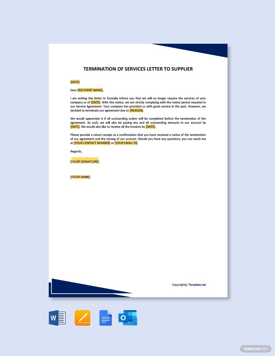 Termination Of Services Letter To Supplier Template Free Pdf Google Docs Word Template Net Lettering Templates Words