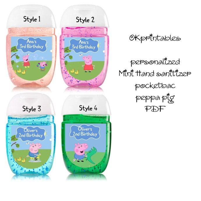 Peppa Pig Hand Sanitizer Label Birthday Party Favors Digital