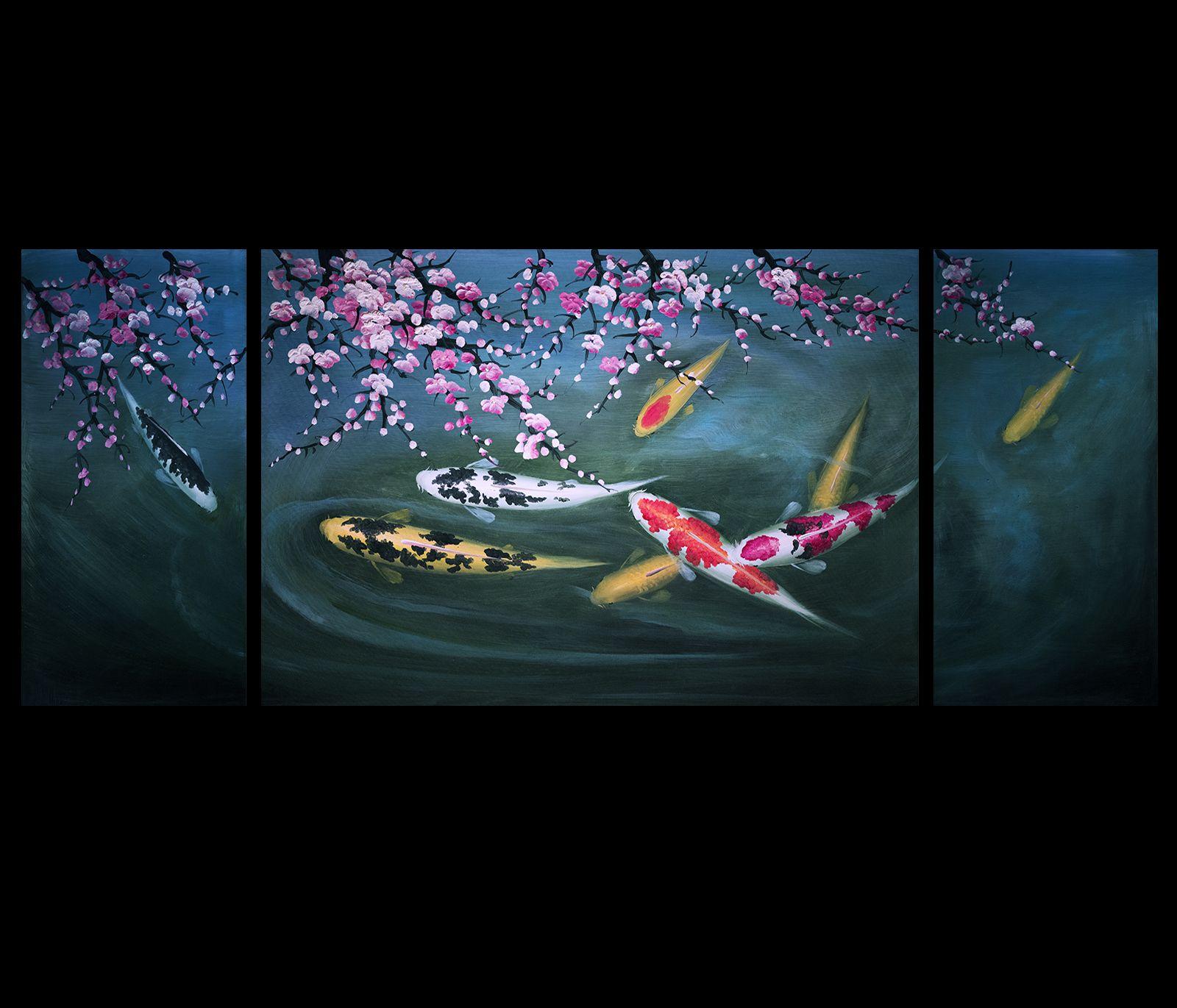 Abstract Art Koi Fish Painting Chinese Feng Shui Art Koi Painting