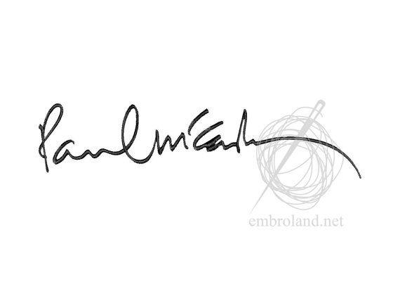 Paul Mccartney Signature Autograph Machine Embroidery Design The