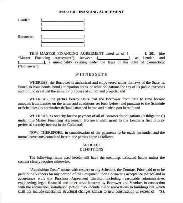Financing Agreement Contract Template , 26+ Great Loan Agreement - business loan agreement template