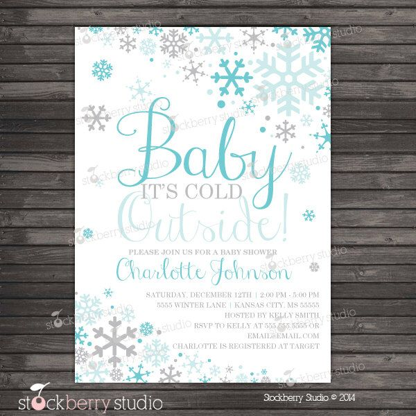 Boy Baby Its Cold Outside Baby Shower Invitation Printable Aqua – Fall or Winter Theme Invitation Cards