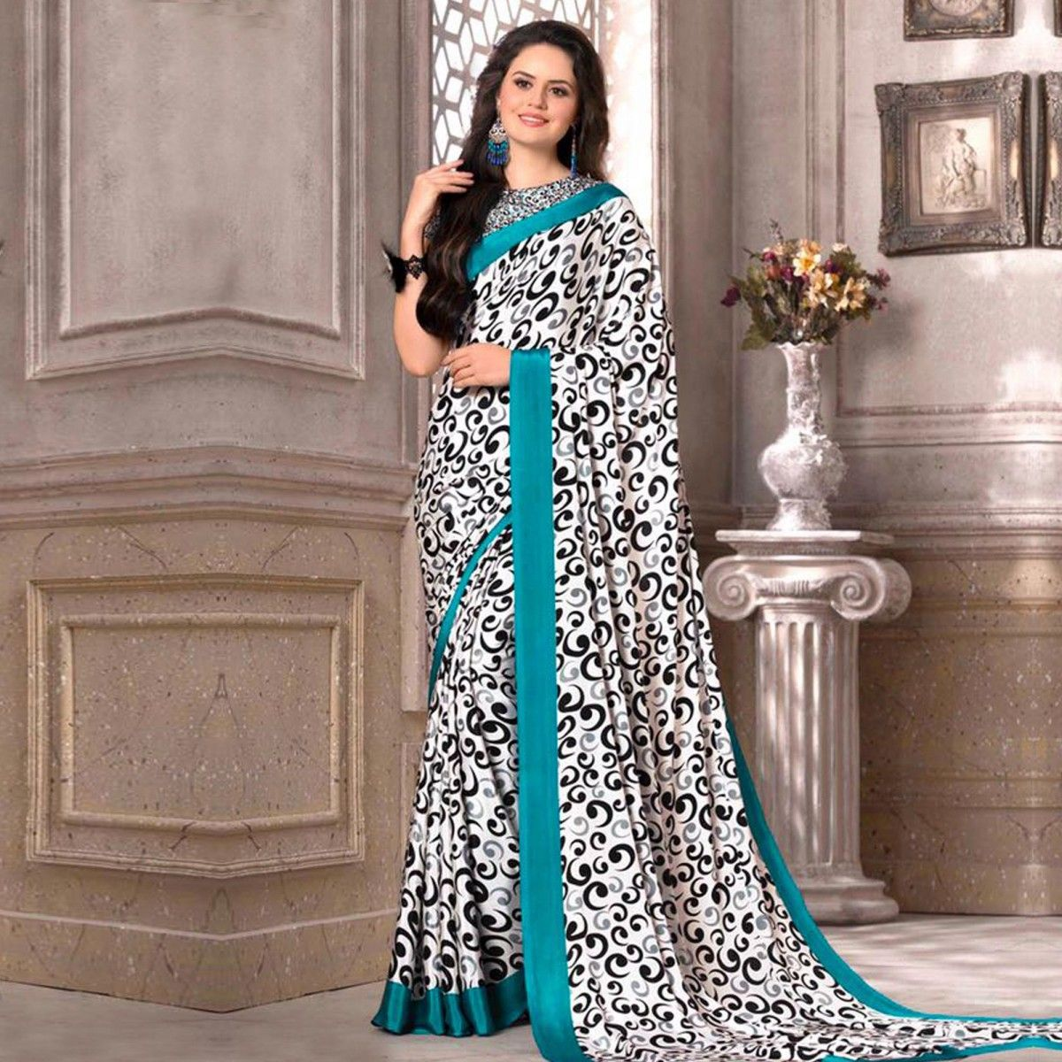 Wedding White Sarees Online: White Printed Georgette Casual Saree For