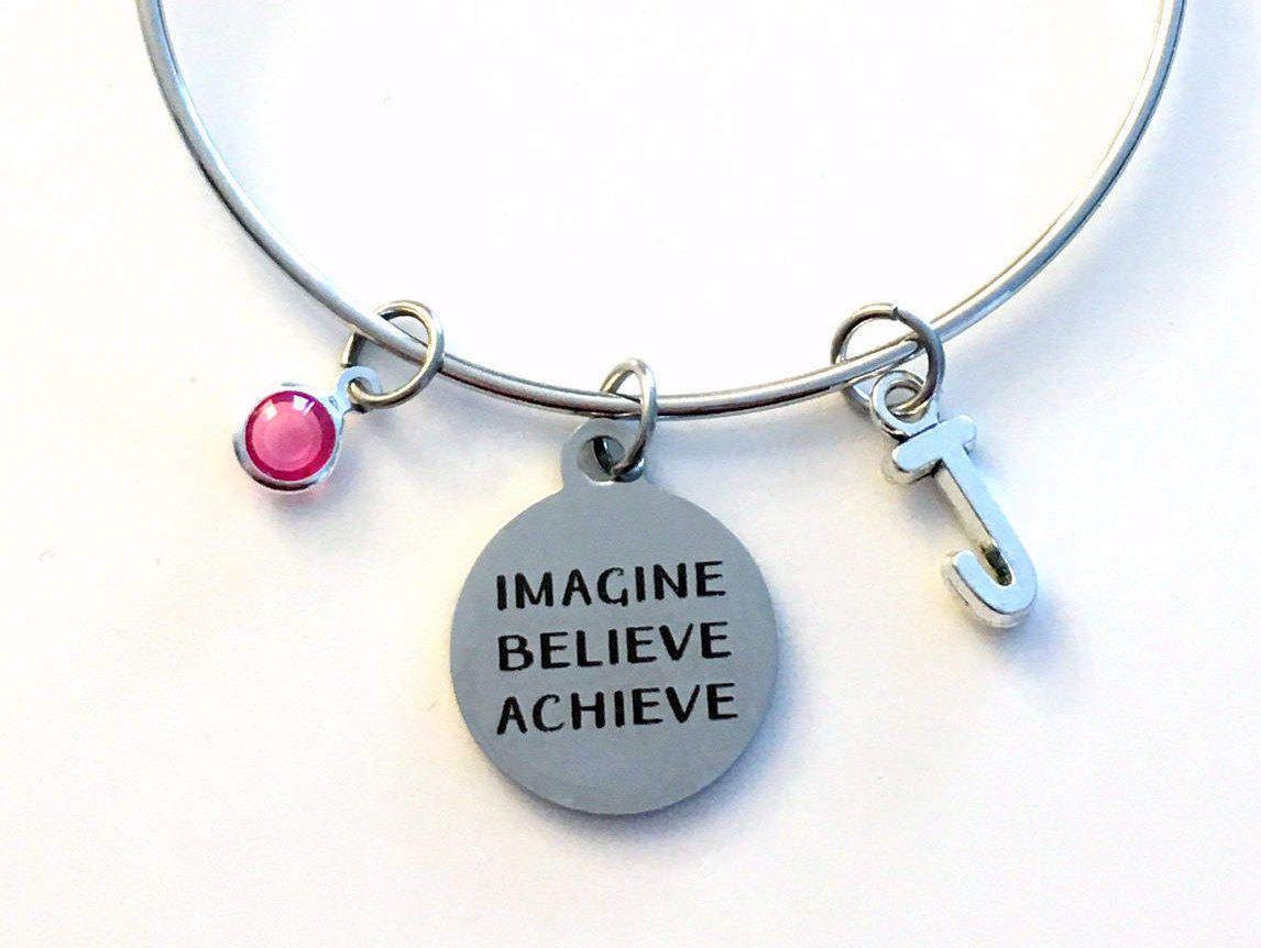Imagine believe achieve charm bracelet motivational jewelry best imagine believe achieve charm bracelet motivational jewelry best friend bangle pendant initial birthstone birthday present bff women woman mozeypictures Images