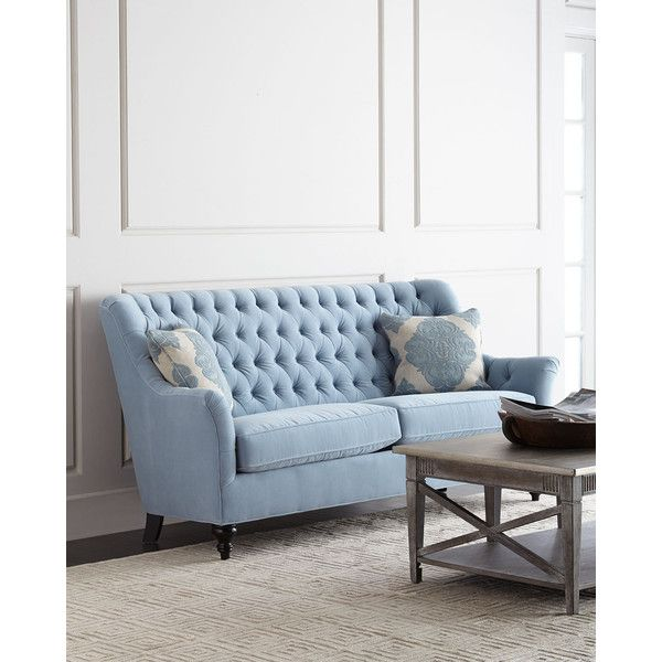 Jazmine Tufted Velvet Sofa 2 135 Liked On Polyvore Featuring Home Furniture Sofas Powder Velvet Tufted Sofa Living Room Sets Furniture Light Blue Sofa