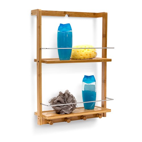 Relaxdays Bamboo Wall Mounted Shower Caddy Shower Shelves Bamboo Wall Shower Storage