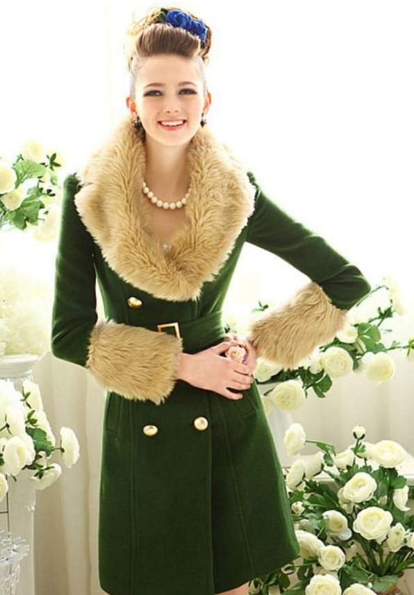 7685614b35a6b Handsome Dark Green Trench Coats Wool Jackets For With Real Fox Fur Collar  on Luulla