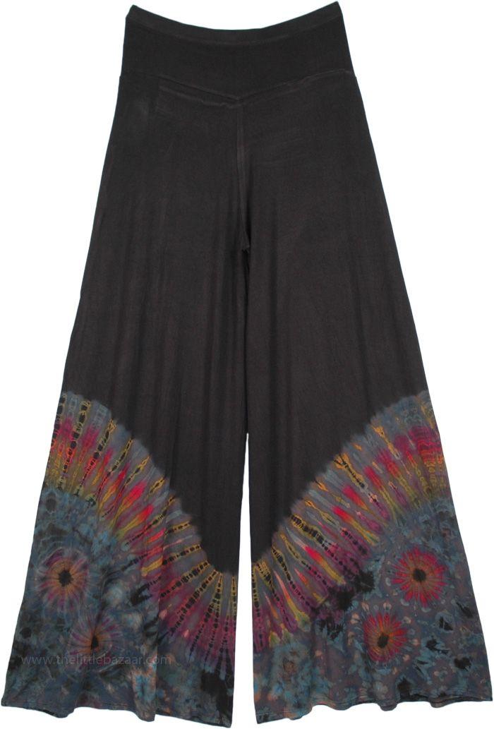 Dreamy Wave Gray Tie Dye Hippie Palazzo Pants-S-M