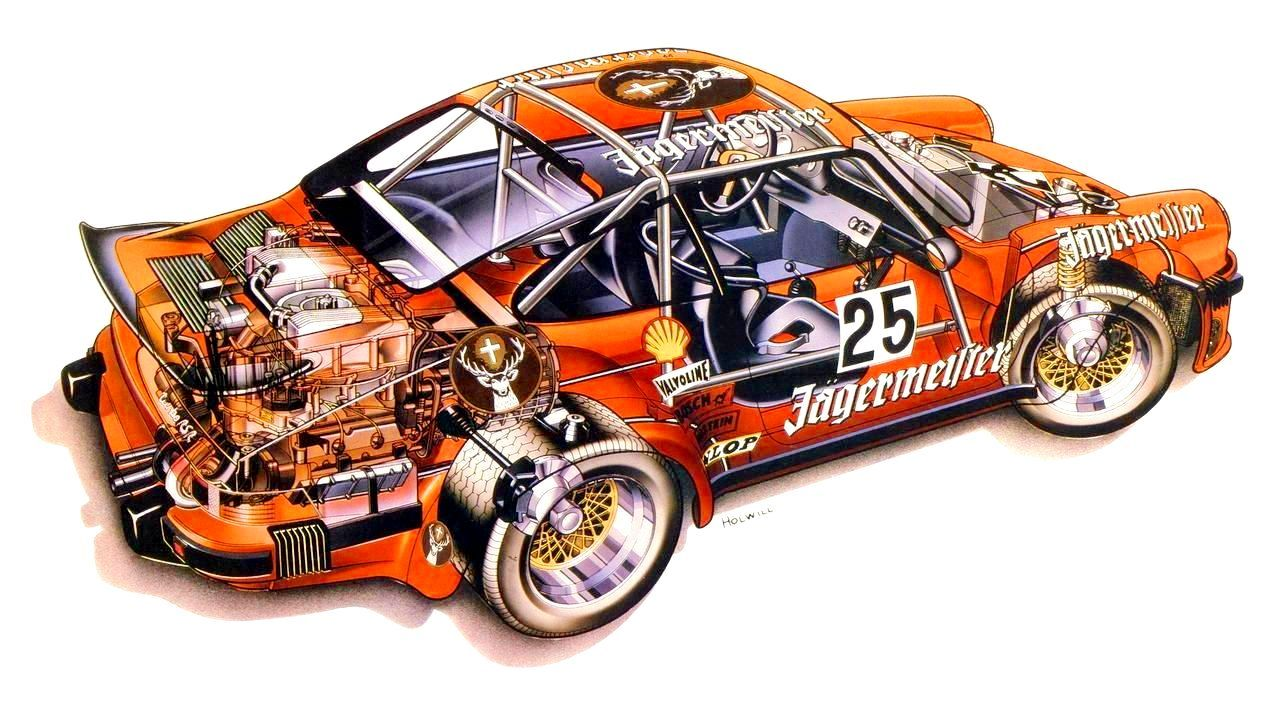 1976 Porsche 934 Turbo Rsr Illustration By Alan Holwill Zeichnungen Von Autos Rennsport Porsche
