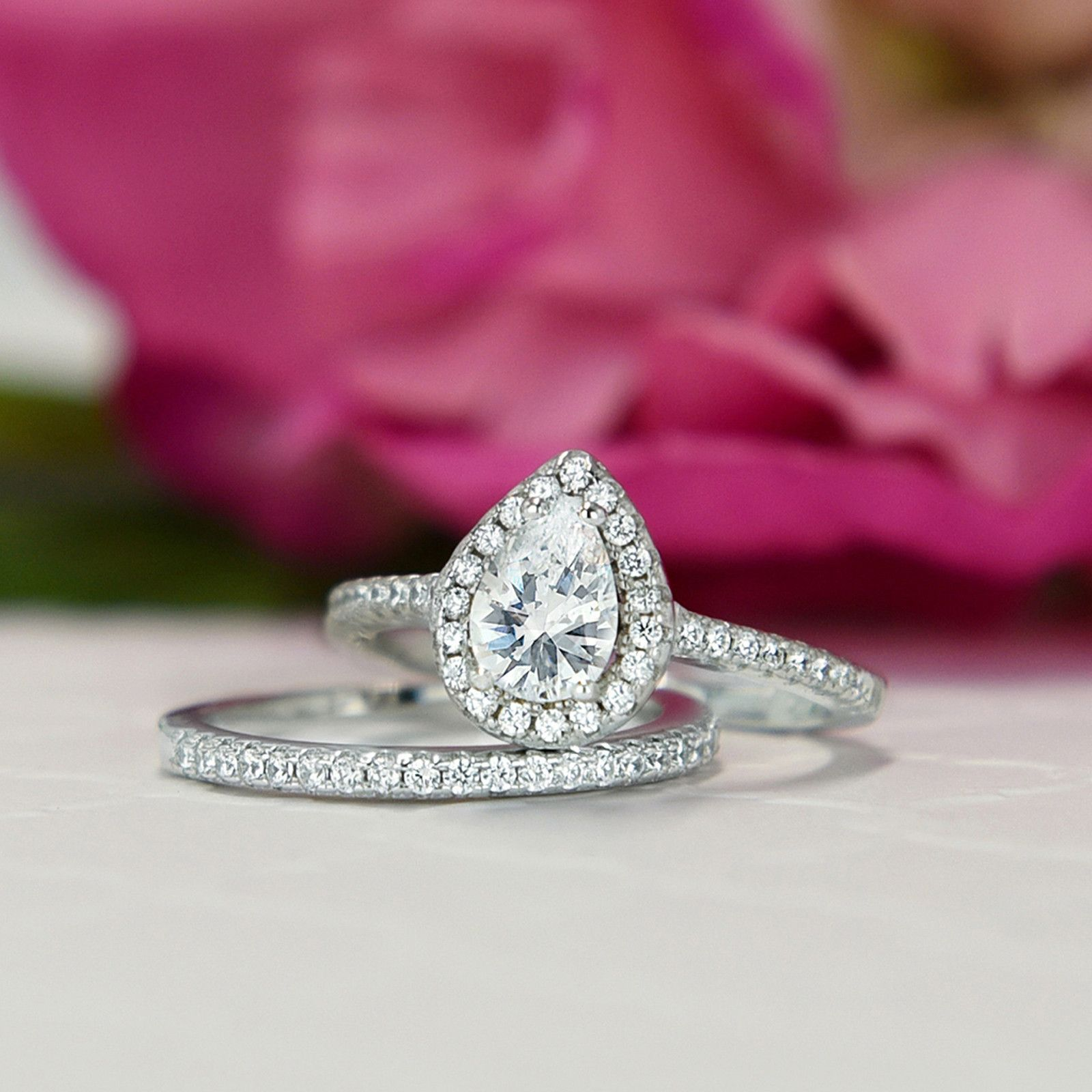 1 ctw Classic Pear Halo Set | Dream Engagement/Wedding Rings ...