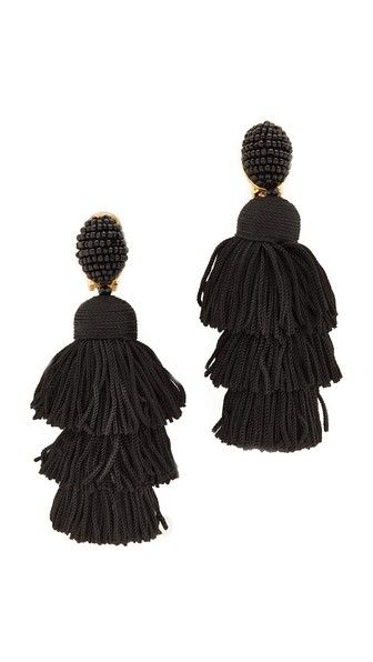 Tiered Tasseled Earrings Oscar De La Renta OD4C5