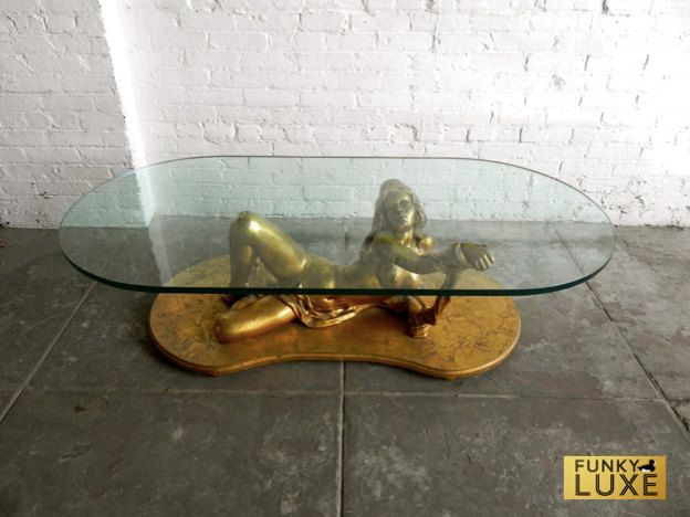 Hollywood Regency Gold Nude Lady Coffee Table Funky Luxe
