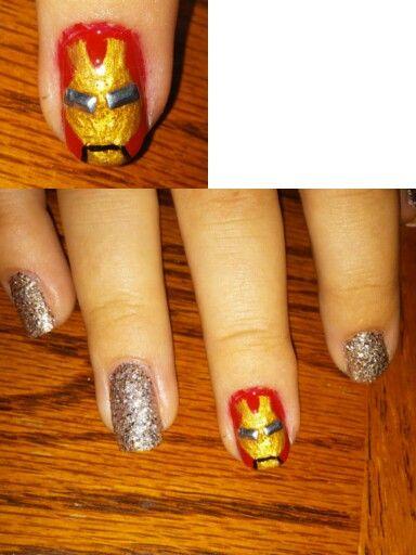 Iron Man nails I did on a friend of mine.