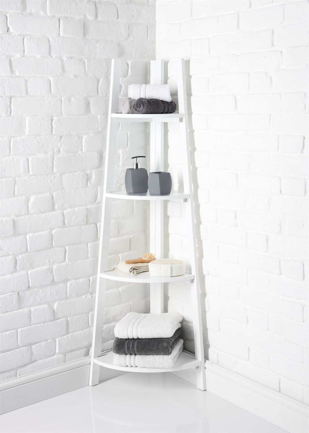4 Tier Corner Shelf Unit 136cm X 53cm X 34cm White Bathroom Corner Unit Corner Shelf Unit Corner Shelves