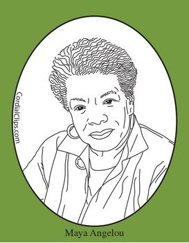 Coloring Page Maya Angelou. Maya Angelou Clip Art or Coloring Page zip file contains 2  png files with transparent approx AgreementThis image is royalty free Mini Poster angelou