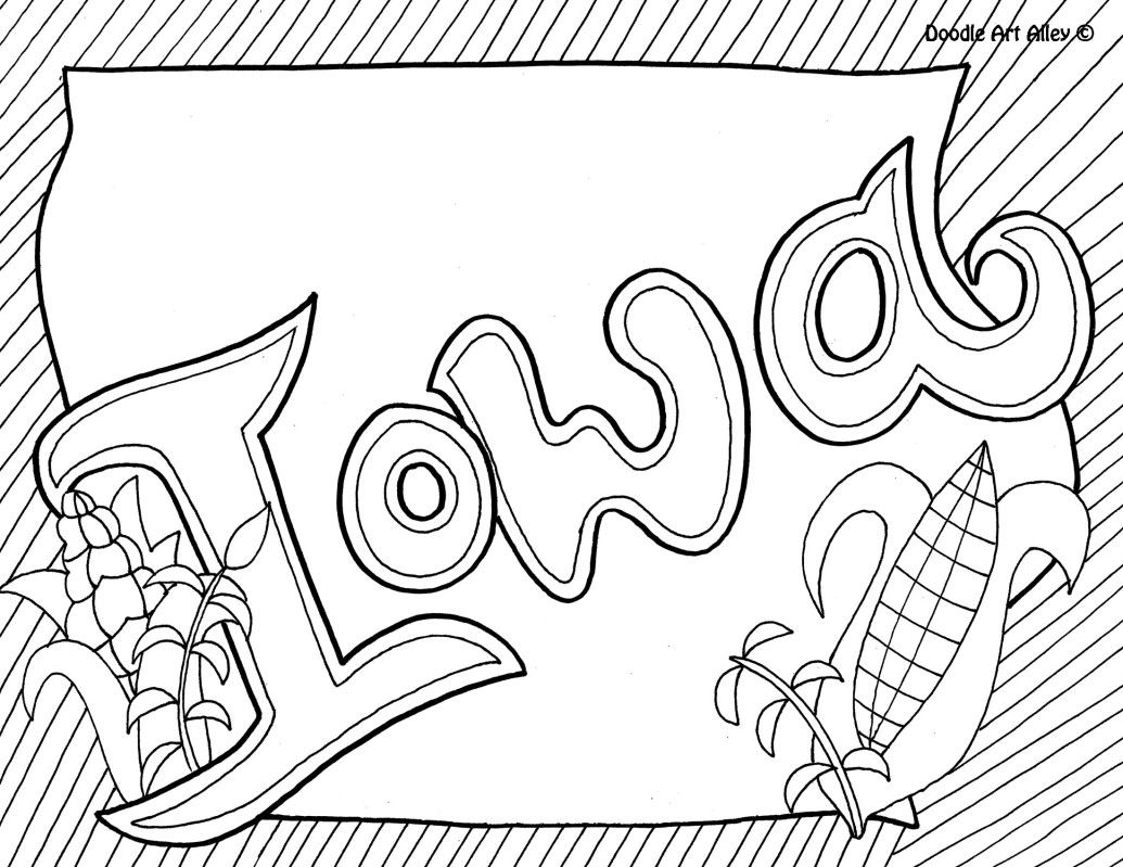 Iowa Coloring Page By Doodle Art Alley Usa Coloring Pages Iowa