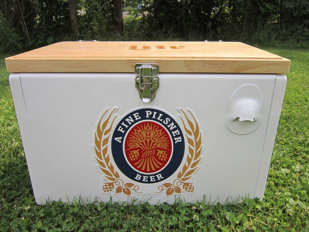 Miller Lite Metal Beer Cooler Wood Top Brand New Never Used Heavy