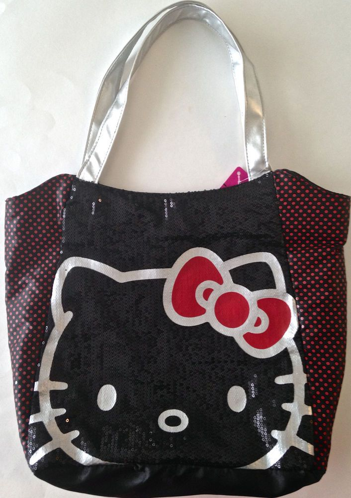 2d022b9c58 HELLO KITTY Sanrio Sequin Satin Tote Handbag Purse Black Silver Polka Dots  NEW  Sanrio  HandbagTote