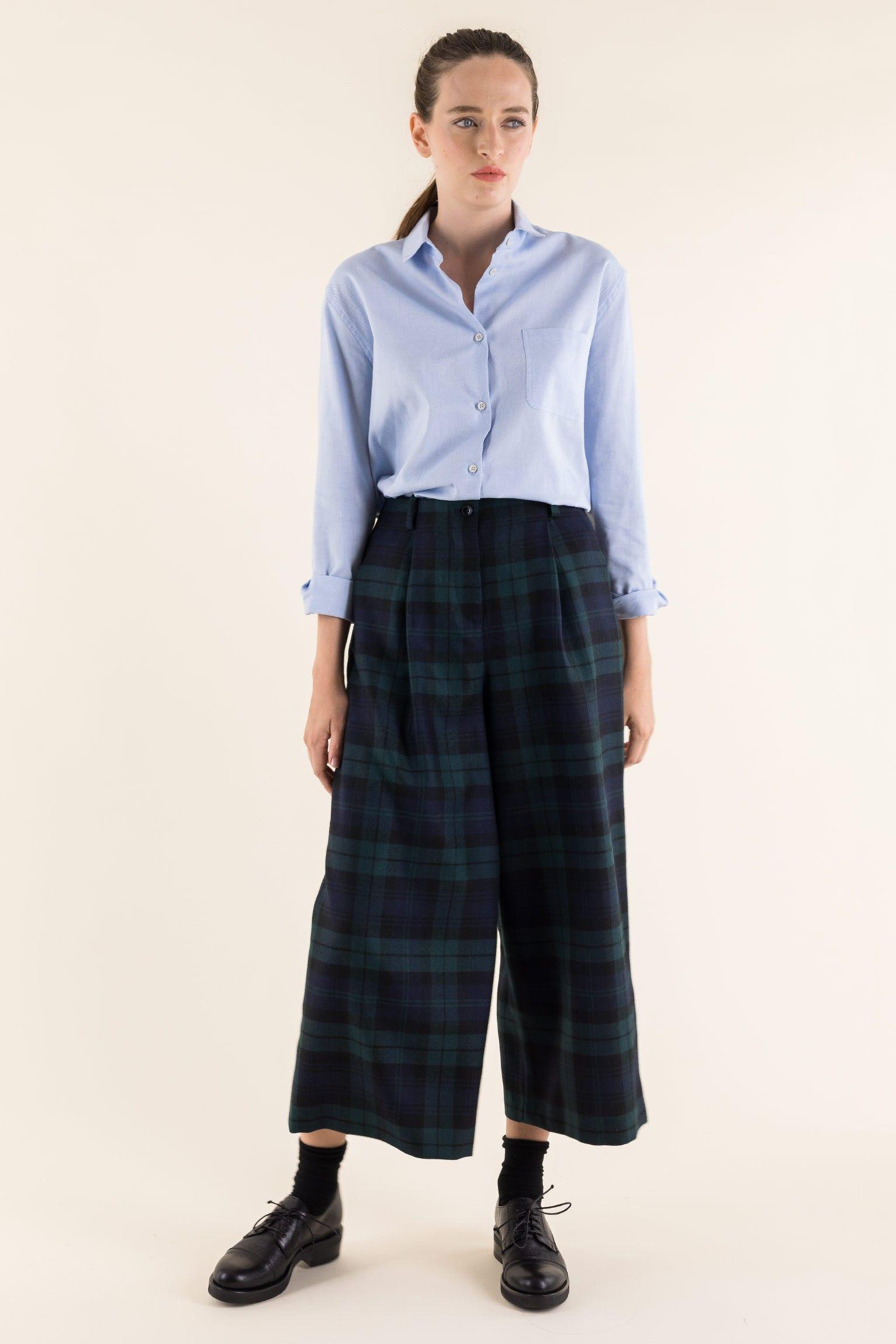 f4c046c9b4e920 Autunno Inverno 2018 2019 Pantalone culotte con piega in lana Pantalone  culotte con piega in lana