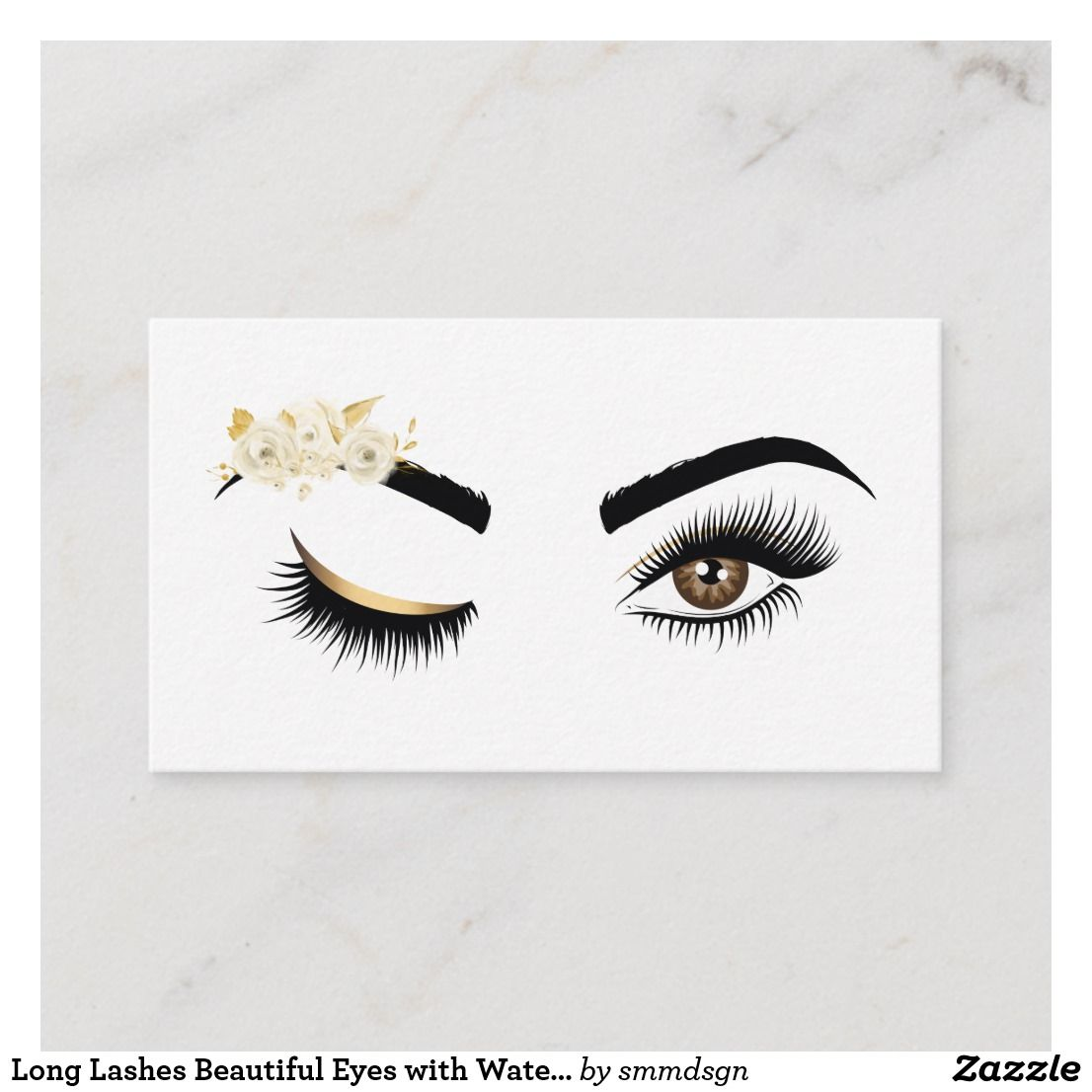 Long Lashes Beautiful Eyes With Watercolor Flowers Business Card