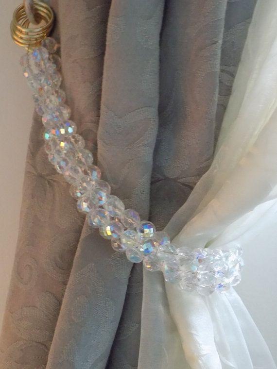 Bohemian Crystals Tiebacks 4 Strands Decorative Ab Clear Curtain