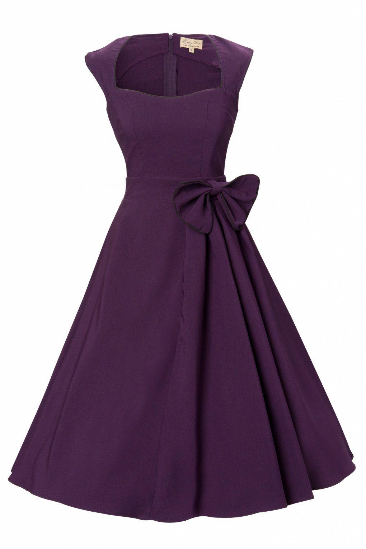 Das 1950\\\'s Grace Purple Bow vintage style swing party rockabilly ...