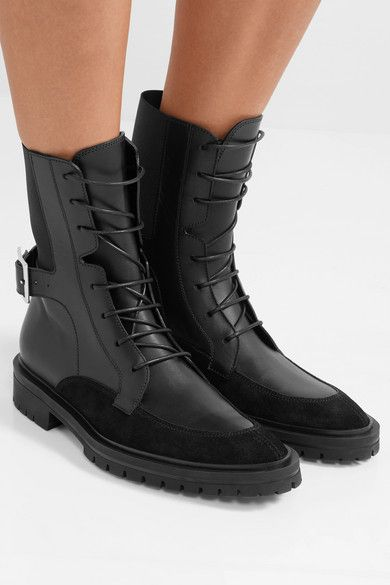 Aviator Leather and Suede Lace-Up BootsGivenchy rGk1d