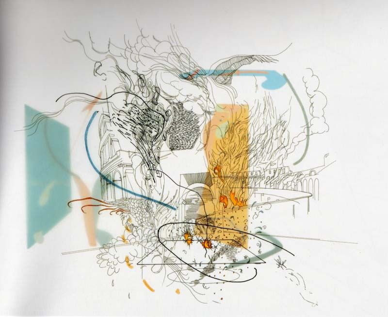 Julie Mehretu  Untitled  ink, colored pencil, and cut paper