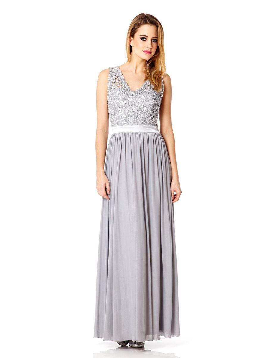 Grey Mesh Lace Bead Detailed Maxi Dress - Quiz Clothing | My summer ...