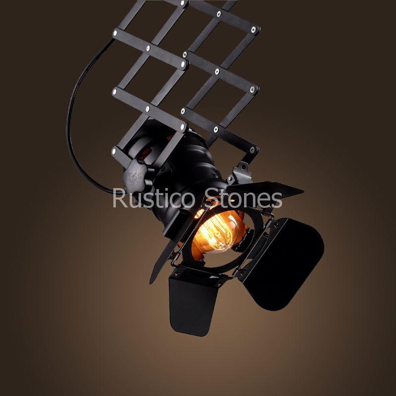 Amerikaanse industri le vintage reflector lamp uitschuifbaar in schuifdak stijl met 4 - Licht industriele vintage ...