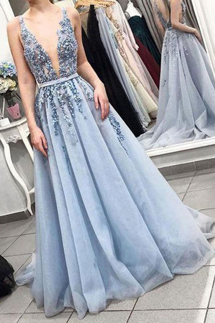 Delicate Sleeveless V Neck Backless Light Blue with Lace Appliques Long  Prom Dresses uk PW268 471052a9e