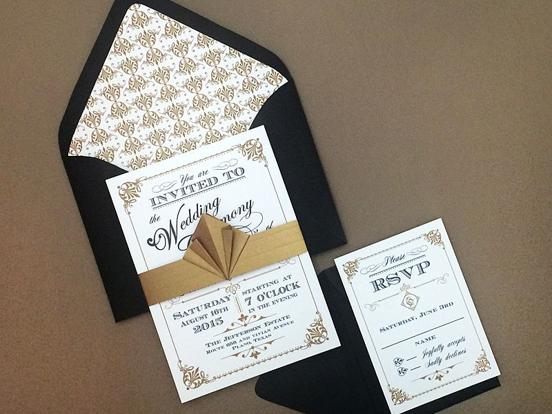 Free black \ gold art deco wedding invitation Download \ Print - free invitation download