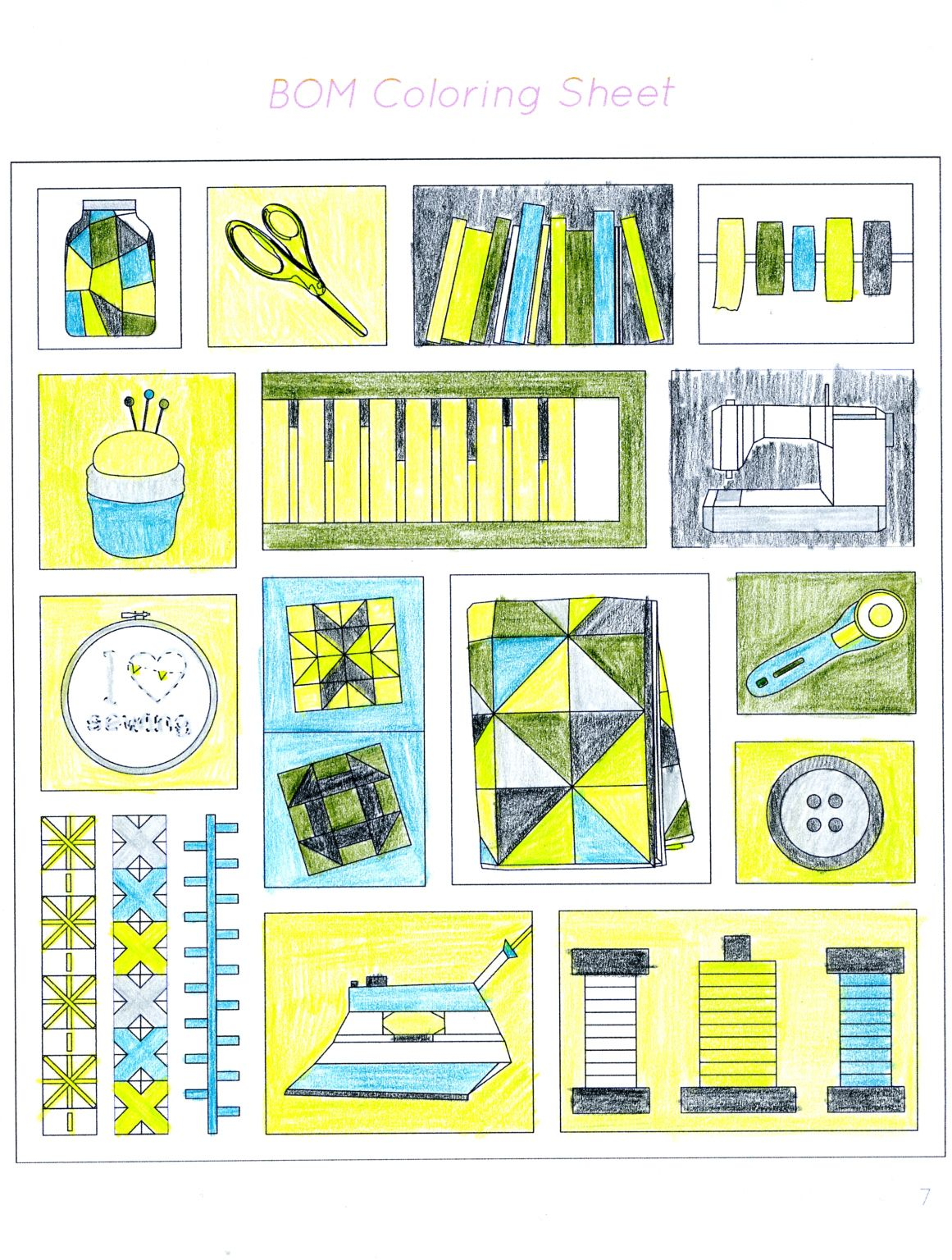 For The Love Of Sewing Block Coloring Worksheet
