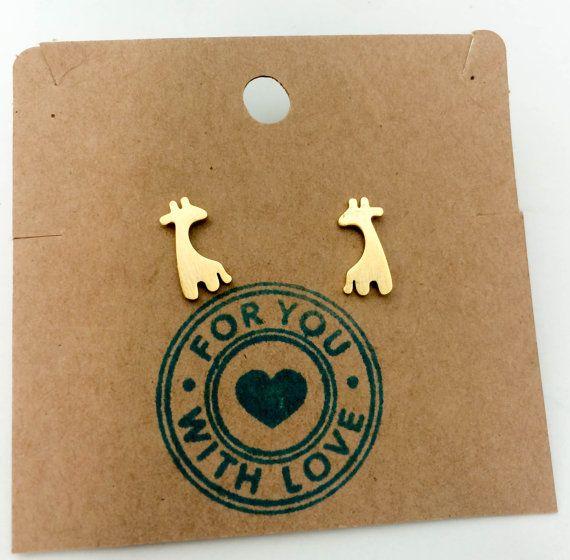 Dainty Gold Giraffe Earrings, Long neck giraffe studs ...