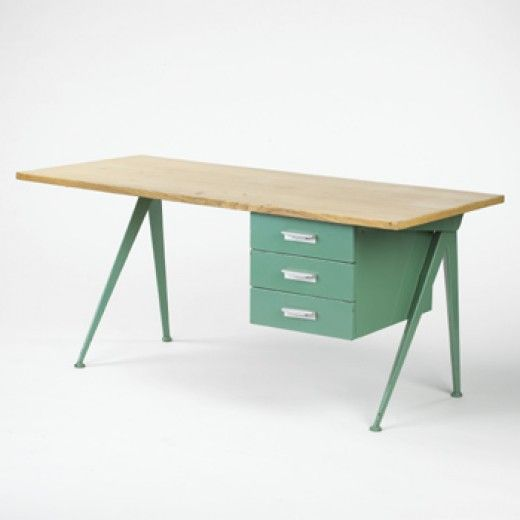 Jean Prouve  Compass desk      Ateliers Jean Prouve, France, 1948 oak, enameled metal 63 w x 27.5 d x 29 h inches