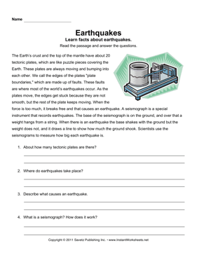 Earthquake Comprehension | First Grade | Reading comprehension ...