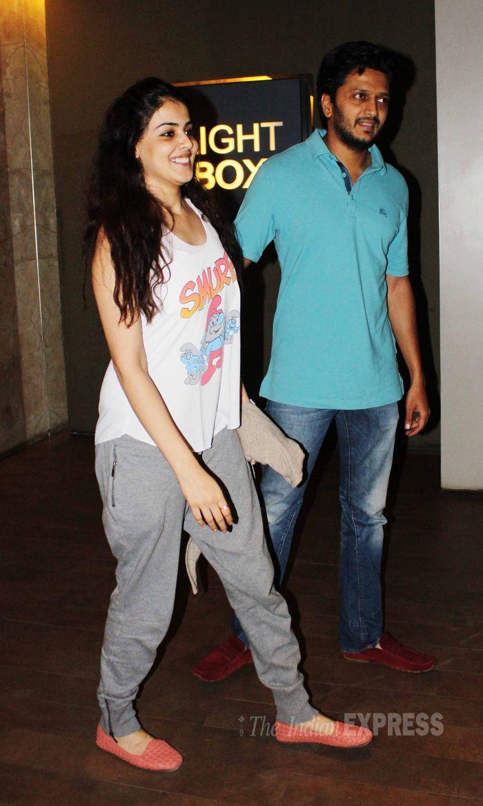 Riteish Deshmukh and Genelia D'Souza Deshmukh at special screening of 'Hawaa Hawaai'. #Style #Bollywood #Fashion #Beauty