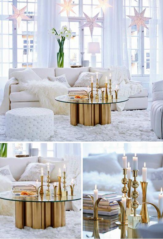Pin von Olya Dell auf house Pinterest Wohnzimmer, Weihnachten - wohnzimmer weis gold