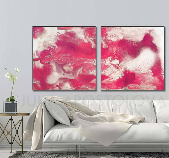 80 inch Painting, \'\'Ruby Sky\'\', Watercolor Set 2, Diptych Art ...