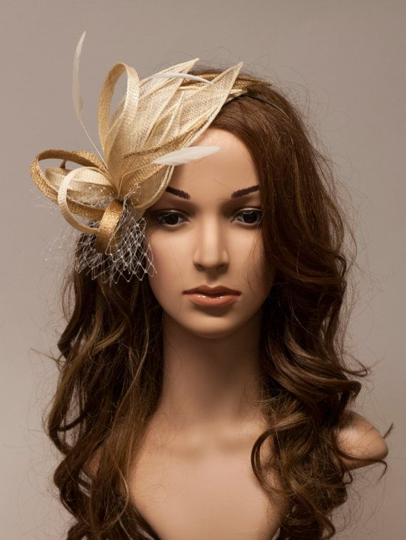 Beige And Gold Fascinator Trimmed With Ivory Feathers Veil Beautiful Elegant On A Teadrop Base