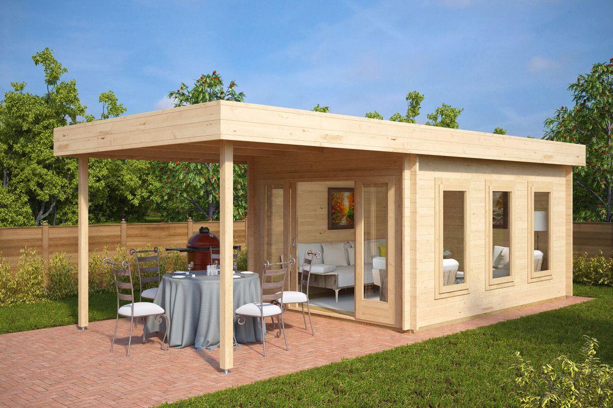modernes gartenhaus aus holz mit terrassendach jacob e 12m 44mm 3x4 bargarten pinterest. Black Bedroom Furniture Sets. Home Design Ideas