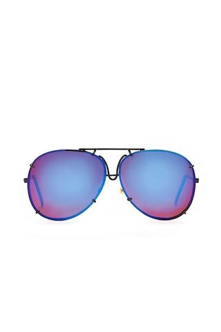A pair of unisex porsche aviator sunglasses by Replay Vintage™ featuring iridescent mirrored lenses and a glossy thin metal frame with scalloped and cutout designs.