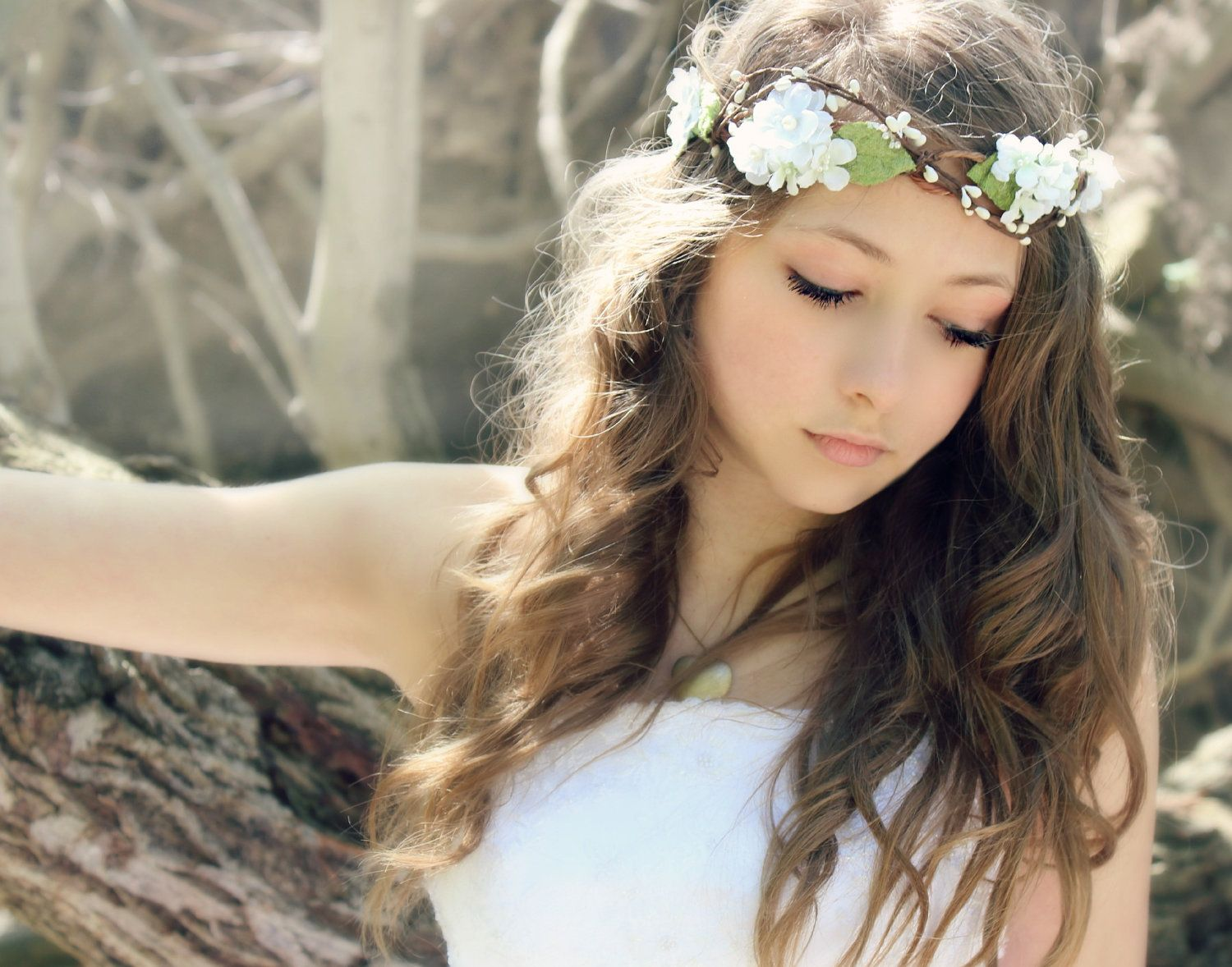 Bohemian flower crown things i like for various reasons flower crown millinery leafs woodland wedding hair by deloop dhlflorist Images