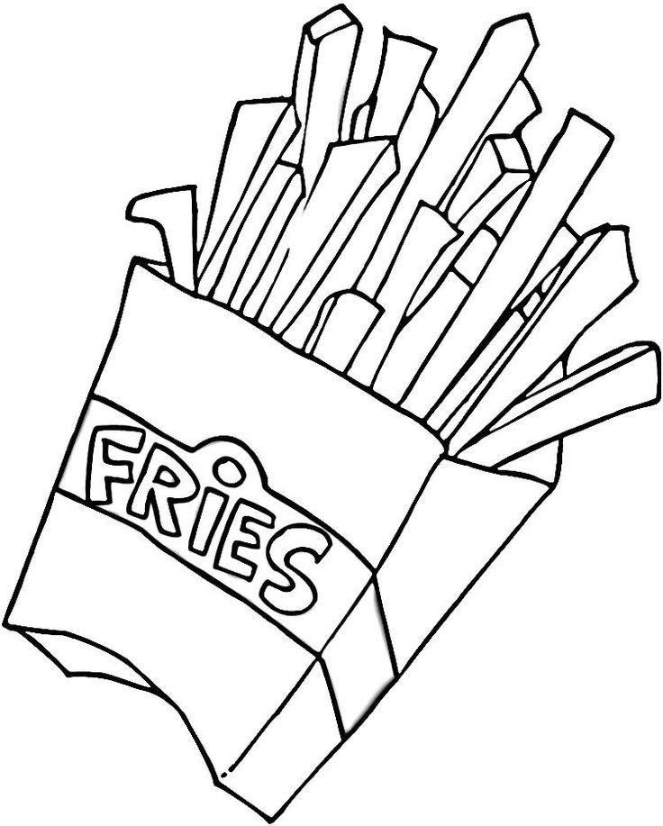 French Fries Hamburger And Fries Coloring Pages French Fries
