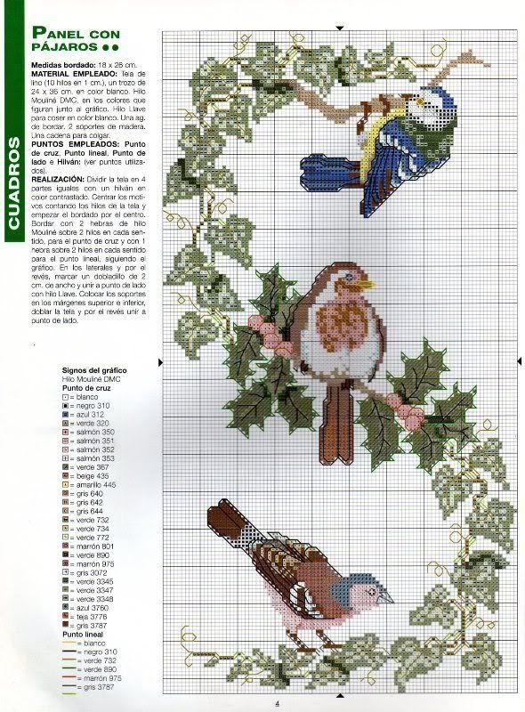 birds with leaves | Patrones de punto de cruz | Pinterest | Patrones ...