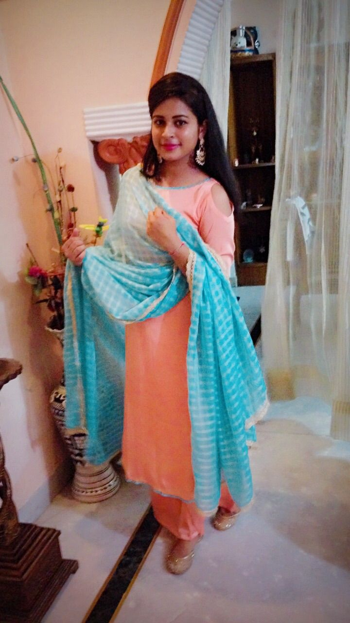 Check out this post - Pastels ........ Blue peach on dupatta ...