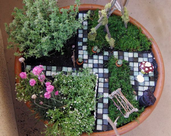 Love The Use Of Glass Flooring Tiles For Pathways In This Miniature Garden!  Via Shabby