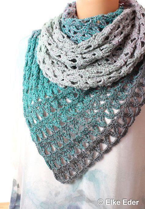 Häkelanleitung Dreieckstuch 'Sanfte Brise' mit 1 Bobbel gehäkelt #scarves