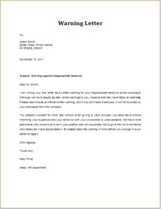 Inappropriate behavior warning letter download at httpwww inappropriate behavior warning letter download at httptemplateinn8 warning letter templates altavistaventures Images