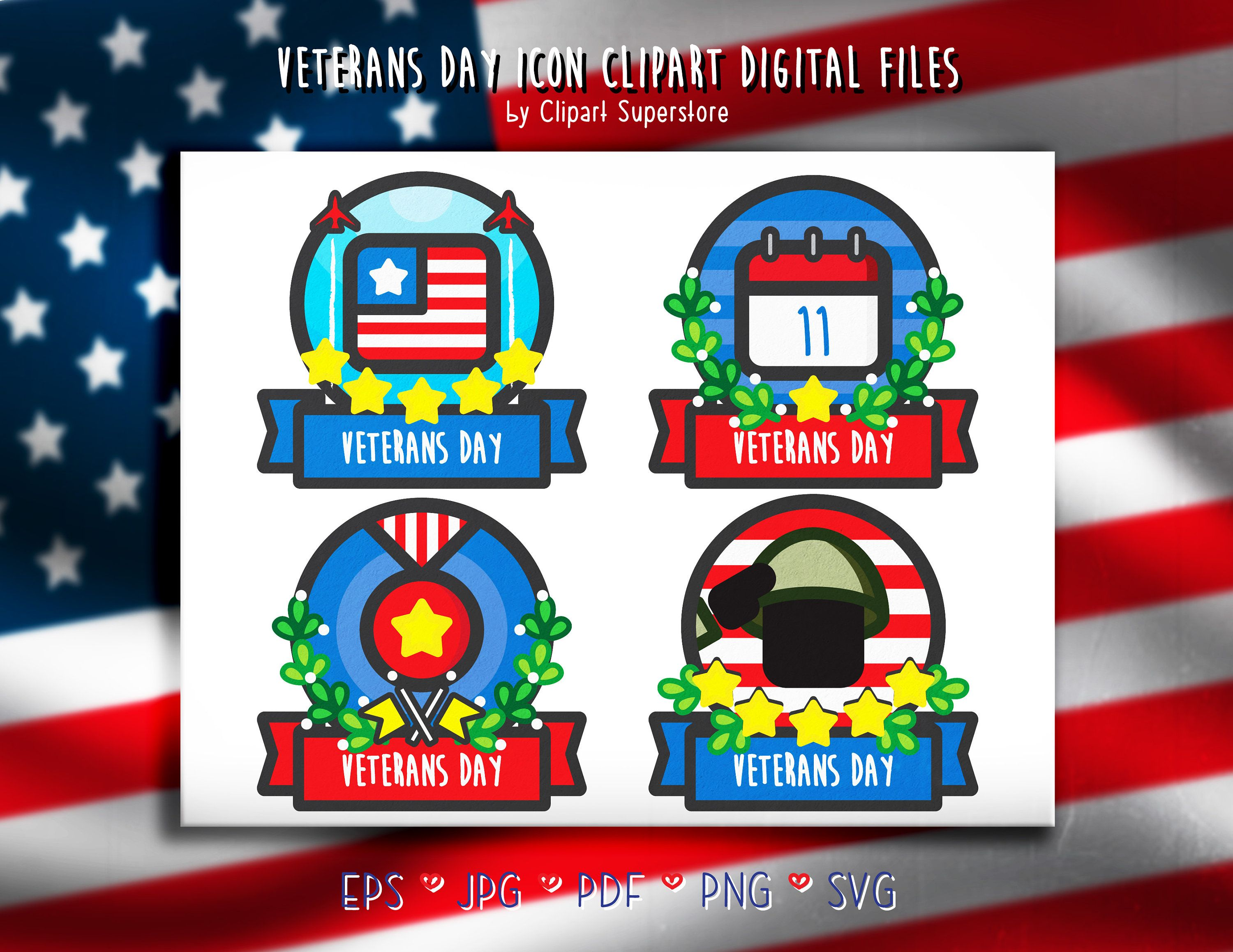 Veterans Day Svg Png Eps Pdf Vector Clipart Icon Instant Etsy Holiday Icon Clip Art Digital Stamps